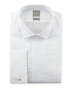 Pleated Fly-Front Tuxedo Shirt by Ike Behar in Legend
