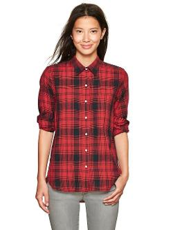 Plaid Boyfriend Shirt by GAP in Ouija