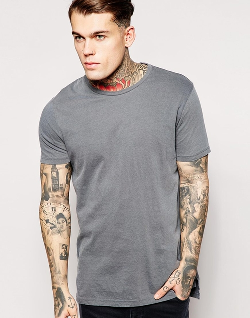 Longline T-Shirt With Vintage Look by Asos in The Proposal