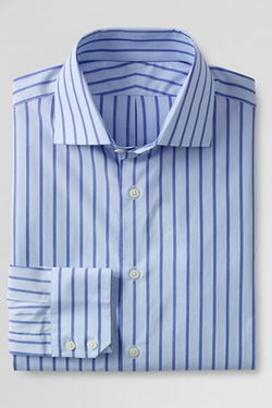 Regular Fit Stripe Dress Shirt by Lands' End in Ballers