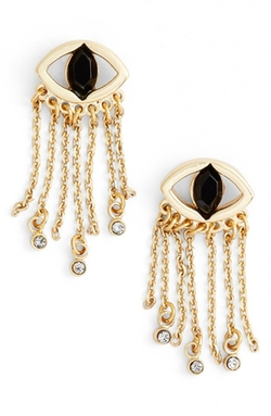 Crystal Fringe Earrings by Jules Smith in Billions