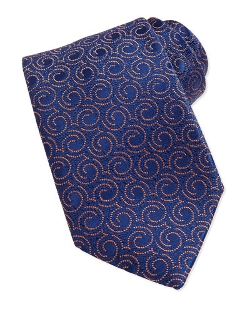Swirl Pattern Silk Tie by Charvet in Self/Less