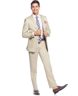 Cotton Solid Slim-Fit Suit by English Laundry in Side Effects
