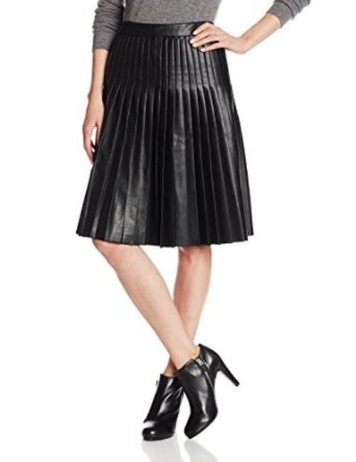 Women's Pleated Faux-Leather Flared Skirt by Rebecca Taylor in Pitch Perfect 2