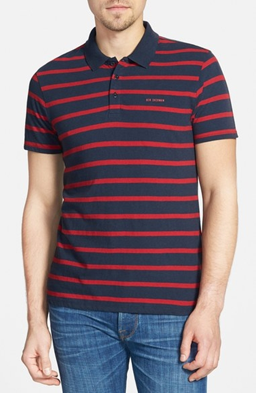 Breton Stripe Jersey Polo Shirt by Ben Sherman in Vacation