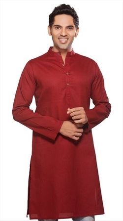 Long Kurta Tunic Banded Collar Solid Color Shirt by Akkriti in Me and Earl and the Dying Girl