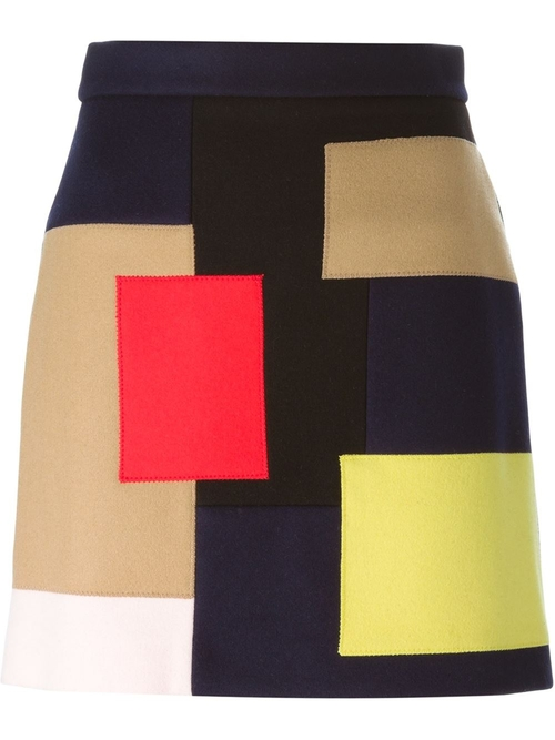 Patchwork Mini Skirt by MSGM in Elementary