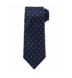Square & Dot-Print Silk Tie by Armani Collezioni in Billions