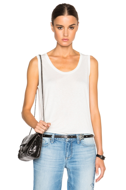 Low Neck Flared Tank Top by T By Alexander Wang in The Walk