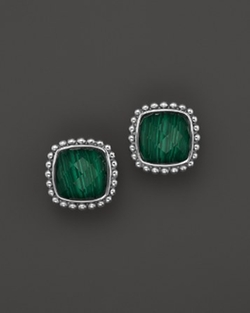 Malachite Doublet Square Earrings by Lagos in Ballers