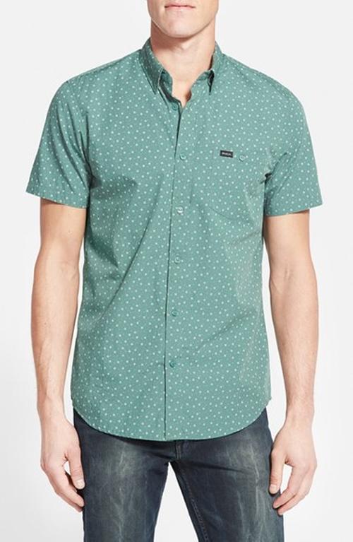 'Pox' Slim Fit Short Sleeve Print Poplin Woven Shirt by RVCA in Rock The Kasbah