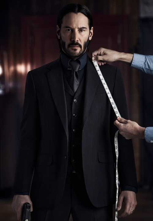 Custom Made Three-Piece Suit by Luca Mosca (Costume Designer) in John Wick: Chapter 2
