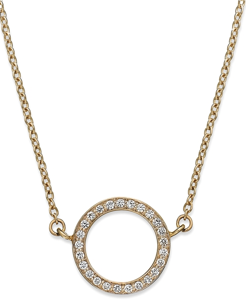 Diamond Open Circle Pendant Necklace by YellOra in Ballers - Season 1 Episode 1