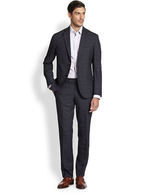 Modern-Fit Check Wool Trousers by Saks Fifth Avenue Collection in The Overnight