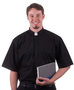 Clergy Tab Collar Shirt Black Cottonrich by MDS in St. Vincent