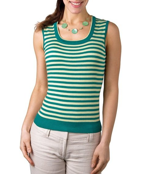 Silk & Cotton Stripe Sweater Vest by Wool Overs in Pitch Perfect 2