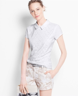 Eyelet Polo Shirt by Ann Taylor in Sisters