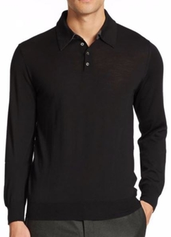 Merino Wool Long-Sleeved Polo Shirt by Saks Fifth Avenue Collection in Chelsea