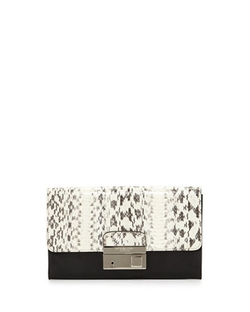 Gia Snakeskin Clutch Bag by Michael Kors in Black-ish