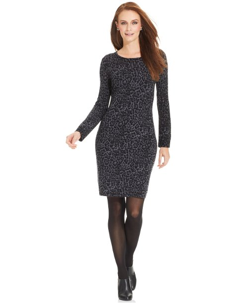 Leopard-Print Merino Sweater Dress by Charter Club in Hall Pass