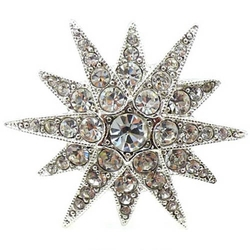 Silver & Crystal Starburst Ring by Kenneth Jay Lane in Suicide Squad