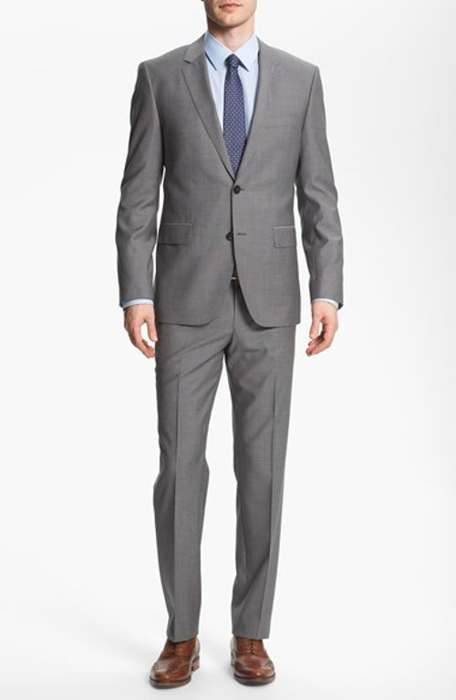 'James/Sharp' Trim Fit Wool Suit by Hugo Boss in Crazy, Stupid, Love.