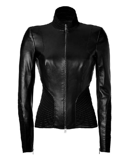 Black Leather/Paneled Stretch Jacket by JITROIS in Vampire Academy