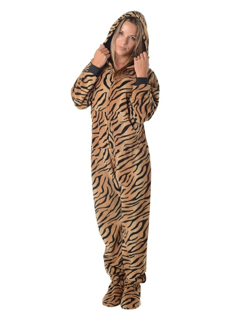 Tiger Stripes Adult Hoodie Fleece Pajamas by Footed Pajamas in New Girl - Season 5 Episode 8