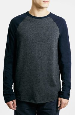 Raglan Long Sleeve T-Shirt by Topman in The Place Beyond The Pines