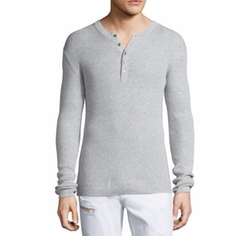 Ribbed Long-Sleeve Henley Shirt by Michael Kors in Quantico