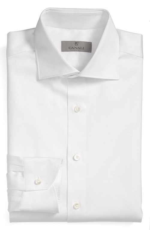 Regular Fit Dobby Dress Shirt by Canali in Burnt