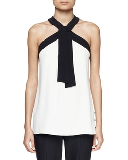 Bicolor Crepe Tie-Neck Halter Top by Proenza Schouler in Mistresses