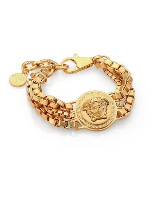 Bijoux Triple Chain Medusa Bracelet by Versace in Dope