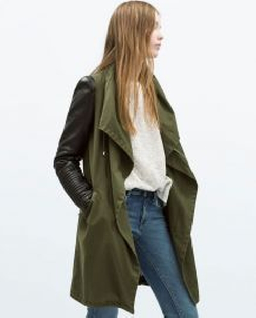 Parka Jacket with Leather Sleeves by Zara in Arrow - Season 4 Episode 8