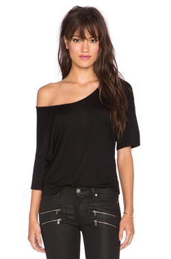 Viscose Jersey Low Neck Tee by T By Alexander Wang in Into the Forest
