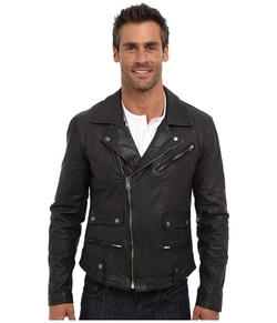 Titan Leather Moto Jacket by Lucky Brand in Ocean's Eleven