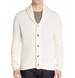 Ribbed Silk & Cotton Shawl Cardigan by Saks Fifth Avenue in Hands of Stone