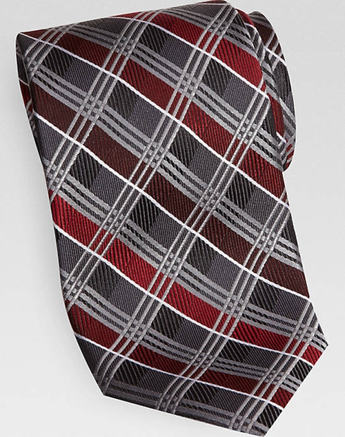 Charcoal And Red Plaid Narrow Tie by Pronto Uomo Couture in The Great Gatsby