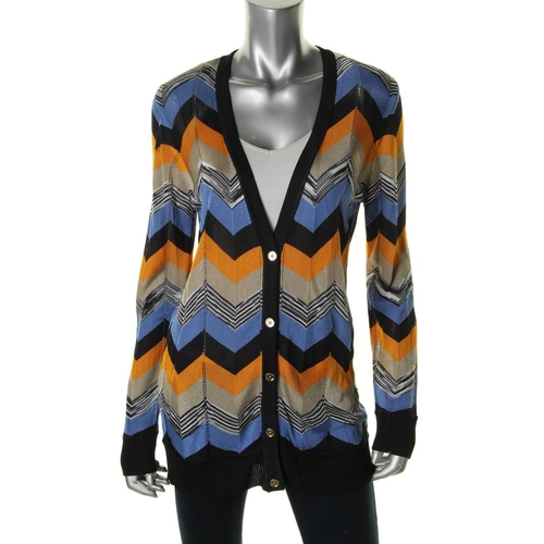 Chevron Button-Down Cardigan Top by Michael Michael Kors in Sisters