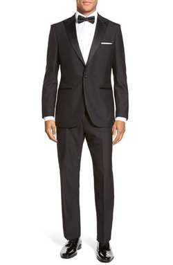 'Aston' Trim Fit Solid Wool Tuxedo by Strong Suit  in Quantico