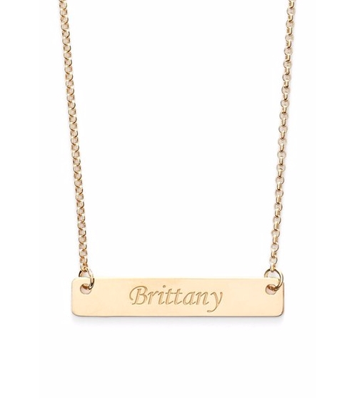 Personalized Script Bar Pendant Necklace by Argento Vivo in Chelsea - Season 1 Episode 4