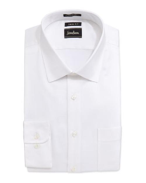 Trim-Fit Regular-Finish Herringbone Dress Shirt, White by Neiman Marcus in The Wolf of Wall Street