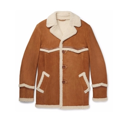 Harry's Statesman Leather-Trimmed Shearling Coat by Kingsman in Kingsman: The Golden Circle