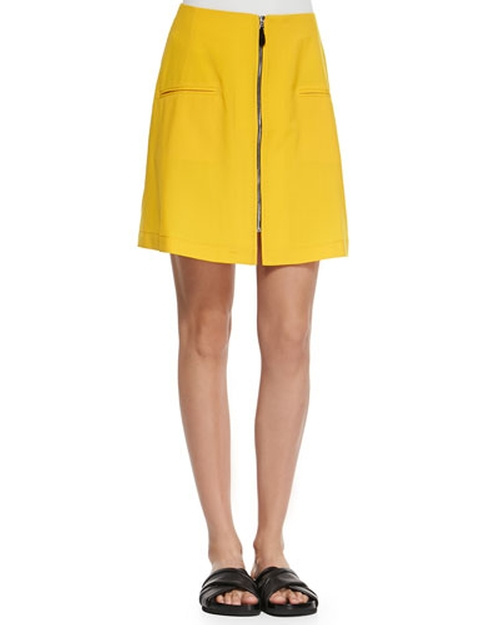 Liquid Wool Front-Zip Skirt by Risto in The Mindy Project - Season 4 Episode 5