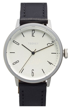 Round Leather Strap Watch by Tsovet in Elf