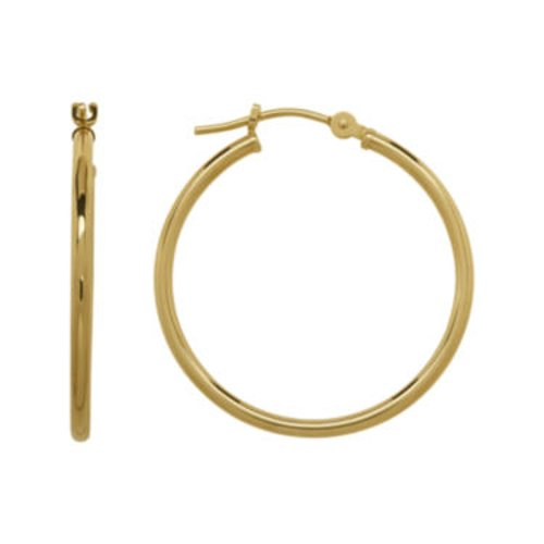 14K Yellow Gold Hoop Earrings by Infinite Gold in The Boy Next Door