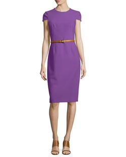 Belted Origami Sheath Dress by Michael Kors Collection in Guilt