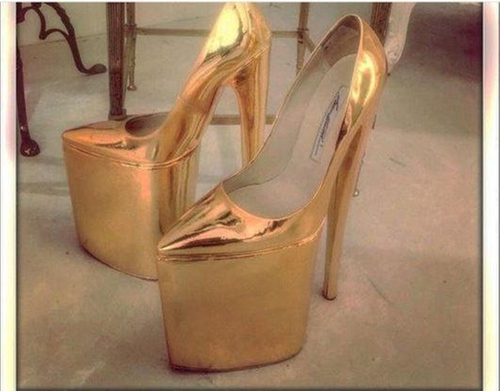 10 Inch Karat Gold Heels by Brian Atwood in Keeping Up With The Kardashians - Season 12 Episode 11