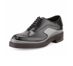 Runway Two-Tone Leather Derby Shoes by Prada in Free Fire