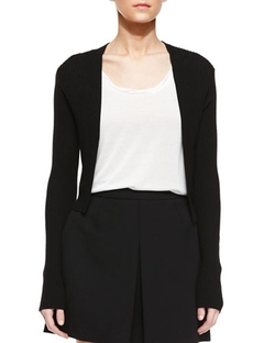 Skinny Rib Cropped Cardigan by Vince in The Vampire Diaries